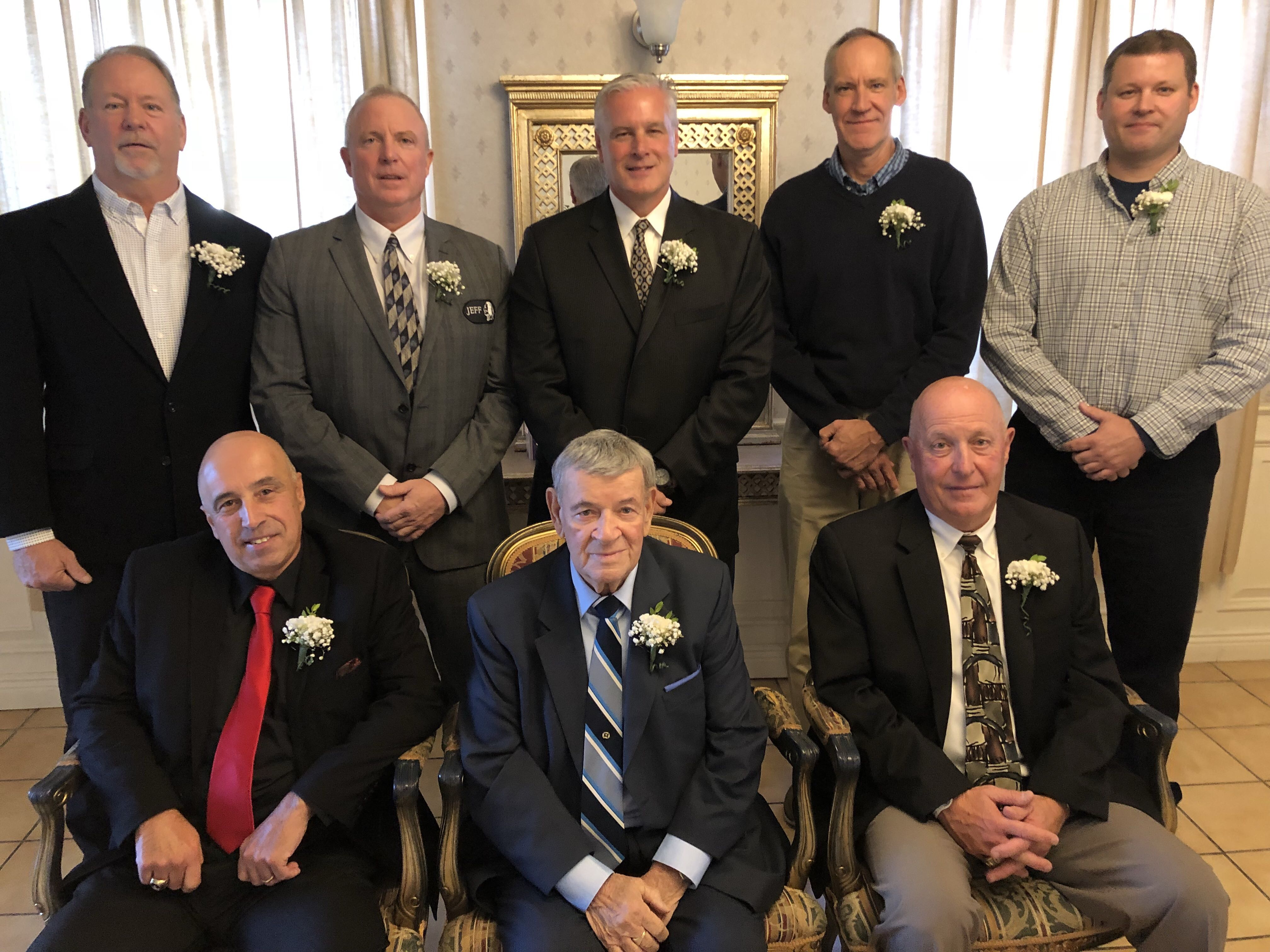 USA Softball of Connecticut inducted its newest Slow Pitch Hall of Fame members at its annual awards dinner on Sunday, October 21 at Costa Azzurra in Milford.Pictured above are (front, left to right):  Mark Berritto, Jerry DeJulia and Paul Mengold (rear, left to right) Dennis Appel, Keith Anderson, Ed Muzyka, Sandy Osiecki and Daryl Osiecki (accepting for Frank Osiecki). Not pictured is Barbara Startup